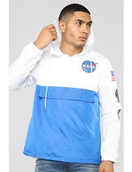 Apollo Pullover Hoodie   White/Blue by Fashion Nova