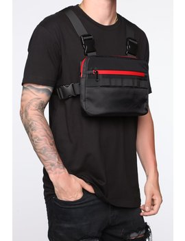 Fn Chest Harness Bag   Black/Red by Fashion Nova