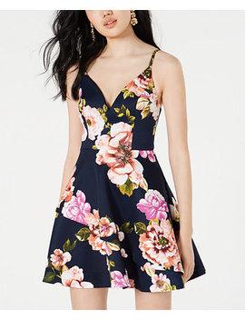 Juniors' Floral Print Scuba Fit & Flare Dress by General