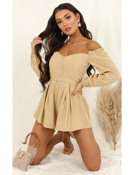 Missing You Too Playsuit In Beige by Showpo Fashion