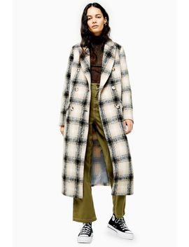 Black And White Check Coat by Topshop