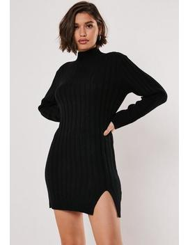 Black Rib High Neck Knitted Jumper Dress by Missguided