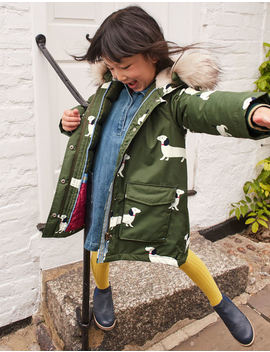 Cosy Waterproof Coat   Khaki Green Sausage Dogs by Boden