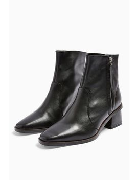 **Wide Fit Margot Leather Mid Boots by Topshop