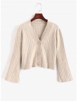 Sale Button Up Crop Solid Cardigan   Tan by Zaful