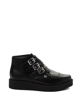 T.U.K. Pointed Toe 3 Buckle Low Sole Creeper Boot by T.U.K.