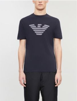 Logo Embroidered Cotton T Shirt by Emporio Armani
