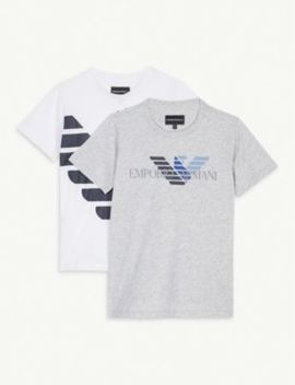 Logo Print Cotton T Shirts Set Of Two 4 16 Years by Emporio Armani