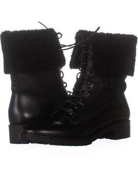 Via Spiga Evi Shearling Lace Up Combat Boots, Black 496, Black, 9 Us by Via Spiga