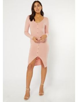 Pink Button Front Long Sleeve Midi Dress by Rue21