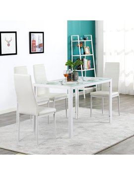 U Bes Goo 5 Pcs Dinning Set Assembled Tempered Glass & Iron Dinner Table And High Backrest Dining Chairs by U Bes Goo