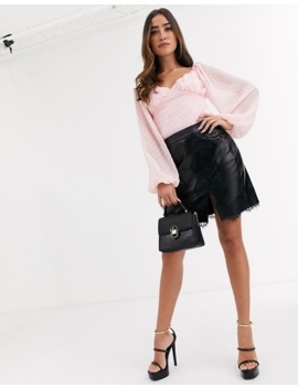 Missguided   Body Style Milkmaid à Manches Bouffantes En Tulle Façonné by Missguided