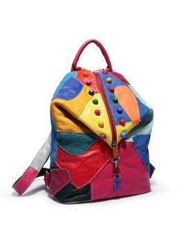 Annmuu   Studded Color Block Genuine Leather Backpack by Annmuu