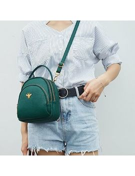 Annmuu   Faux Leather Bee Accent Mini Backpack by Annmuu