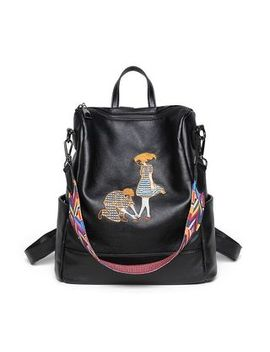 Annmuu   Embroidered Faux Leather Backpack by Annmuu