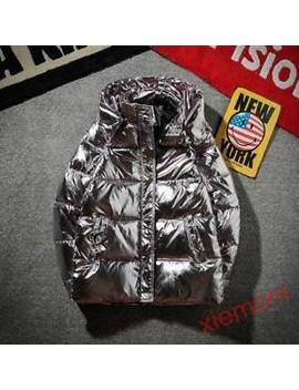 Men Winter Puffer Thick Down Cotton Warm Silver Bright Jacket Coat Padded Coats by Ebay Seller