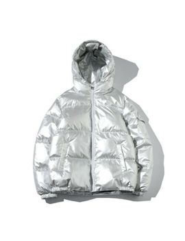Men's Cotton Padded Hooded Jacket Bubble Puffer Bling Silver Coat Loose Fit Warm by Ebay Seller