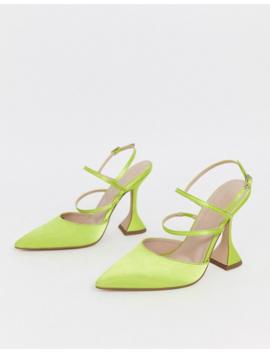 Asos Design   Pizzazz   Chaussures Satinées à Talons Hauts   Vert Citron by Asos Design