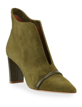 Open Front Suede Ankle Booties by Malone Souliers