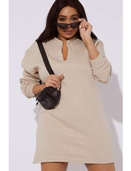 Curve Caleh Camel Fleece Lined V Neck Mini Dress by In The Style