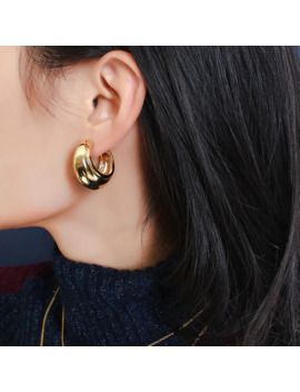 Srcoi Minimalist C Shaped Thick Tube Round Circle Earrings Hiphop Rock Metal Chunky Huggie Earrings For Women Zinc Alloy Bohemia by Ali Express.Com