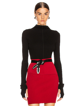 High Neck Rib Top by Helmut Lang