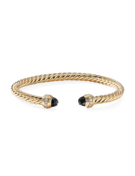 18k Gold Cable Bracelet W/ Diamonds & Onyx, Size M by David Yurman