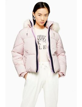 Pink Hooded Puffer Jacket by Topshop