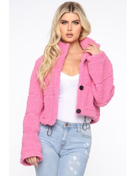 Catch Me In The Cold Fuzzy Jacket   Pink by Fashion Nova