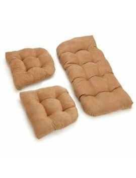 U Shaped Microsuede Tufted Settee Cushion Set (Set Of 3)   Aqua Blue by Blazing Needles