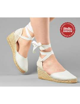 Diegos® Classic High Wedge Ivory White Lola Espadrilles | Authentic Spanish Leather Hand Stitched To The Sole! by Etsy