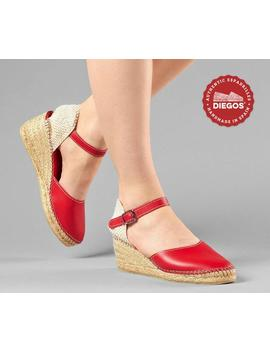 Diegos® Classic High Wedge Red Leather Carmen Espadrilles | Authentic Spanish Leather Hand Stitched To The Sole! by Etsy