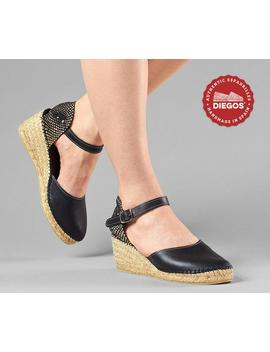 Diegos® Classic High Wedge Black Leather Carmen Espadrilles | Authentic Spanish Leather Hand Stitched To The Sole! by Etsy