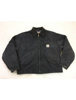 Carhartt Jb105 J01 Black Canvas Blanket Lined Jacket Men's 48 Xl Distressed Usa by Carhartt
