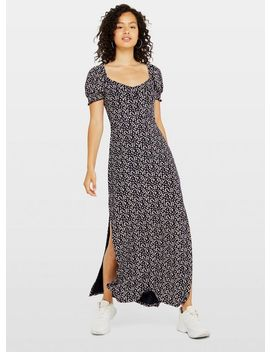 Navy Floral Print Button Through Maxi Dress by Miss Selfridge