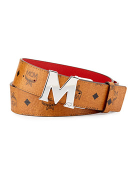 Mcm Reversible M Buckle Monogram Belt, Cognac/Red by Mcm