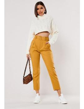 Mustard Self Fabric Belted Cigarette Trousers by Missguided