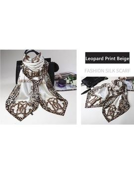 Leopard Print Beige Chinese Mulberry Silk Hand Rolled Scarf by Etsy