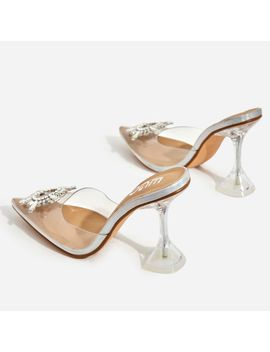 Midnight Diamante Detail Perspex Heel Mule In Silver Holographic Faux Leather by Ego