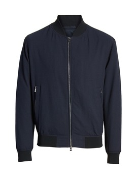 Cadus Regular Fit Seersucker Check Bomber Jacket by Boss
