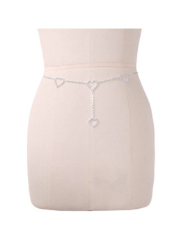 Fashion New 1 Pc Women Sexy Waist Chain Rhinestone Heart To Heart Body Chain Belt For Lady Female Party Beach High Quality by Ali Express.Com