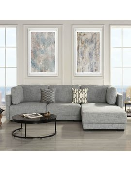 Contemporary L Shape Sectional Sofa Fabric High Density Soft Foam Light Grey by Sofamania