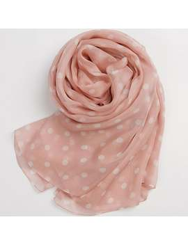 Pink Silk Chiffon Scarf With Large Polka Dot Print   Polka Dot Printed Silk Scarf    As2015 36 by Etsy