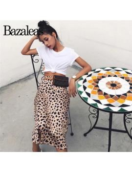 Bazaleas Vintage High Waist Midi Skirts Leopard Pattern Women Skirt Sexy Slim Wild Women Skirt Casual Slip Style Skirt by Ali Express.Com