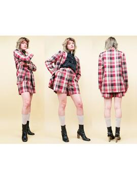80s 90s Vtg Tartan Plaid 2pc Cotton Blazer Jacket & High Waisted Long Shorts Matching Jaclyn Smith Set Co Ords Clueless Sm Med [Tag Sz 10] by Etsy