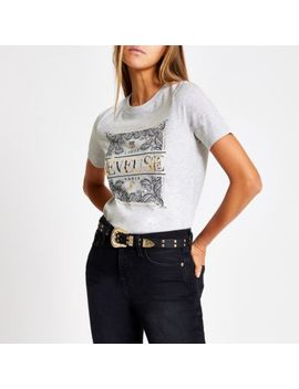 Grey 'reveuse' Paisley Printed T Shirt by River Island