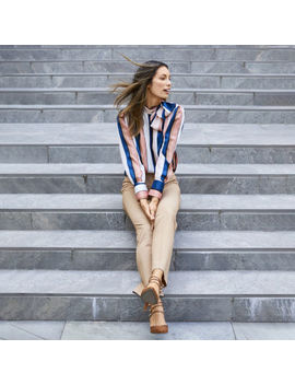 Shades Of Brown: Worthington Rose Stripe Satin Blouse With Tennyson Brown Pant by Worthington