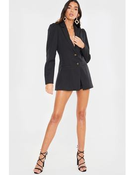 Lorna Luxe Black 'bianca' Volume Sleeve Blazer by In The Style