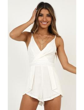 Bon Voyage Playsuit In White Linen Look by Showpo Fashion