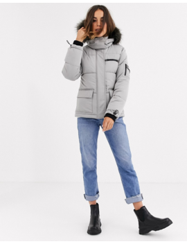 New Look Ski Puffer Jacket In Pale Gray by New Look